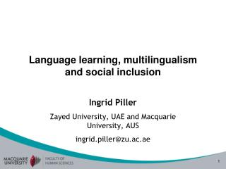 Language learning, multilingualism and social inclusion