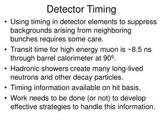 Detector Timing