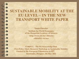 SUSTAINABLE MOBILITY AT THE EU LEVEL – IN THE NEW TRANSPORT WHITE PAPER