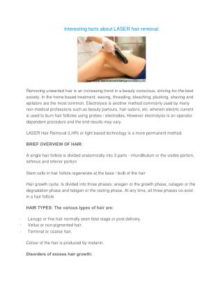 Interesting facts about LASER hair removal