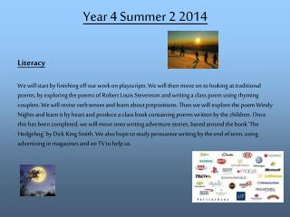 Year 4 Summer 2 2014