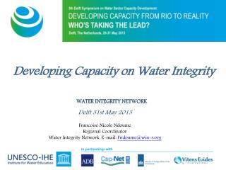 Developing Capacity on Water Integrity