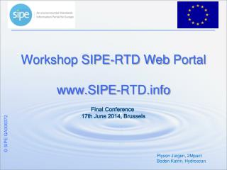 Workshop SIPE-RTD Web  Portal SIPE-RTD