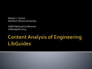 Content Analysis of Engineering  LibGuides