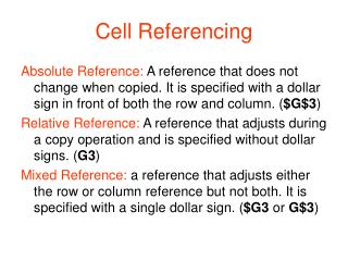 Cell Referencing