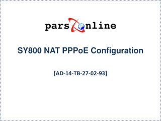 SY800 NAT  PPPoE  Configuration