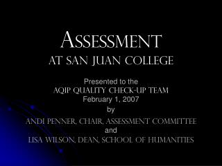 A ssessment at San Juan College