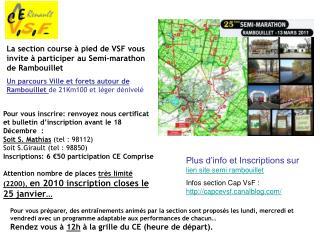 La section course à pied de VSF vous invite à participer au Semi-marathon de Rambouillet
