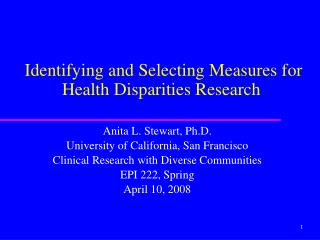 Identifying and Selecting Measures for Health Disparities Research