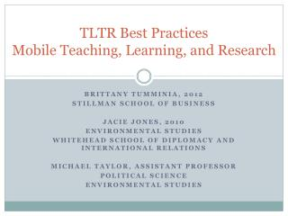 TLTR Best Practices Mobile Teaching, Learning, and Research