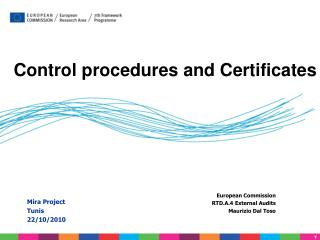Control procedures and Certificates