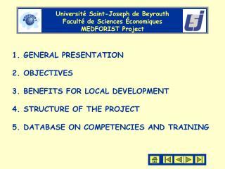 Université Saint-Joseph de Beyrouth Faculté de Sciences Économiques  MEDFORIST Project