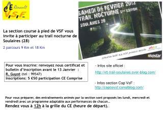 La section course à pied de VSF vous invite à participer au trail nocturne de Soulaires (28)