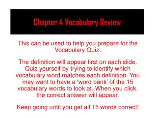 Chapter 4 Vocabulary Review