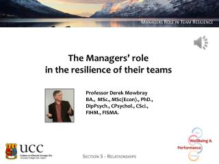 The Managers' role  in the resilience of their teams