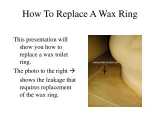 How To Replace A Wax Ring