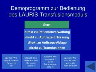 Demoprogramm zur Bedienung des LAURIS-Transfusionsmoduls
