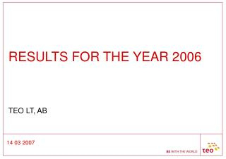 RESULTS FOR THE YEAR 2006