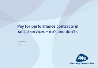 Pay for performance contracts in social services – do's and don'ts