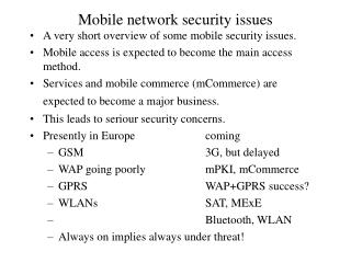 Mobile network security issues