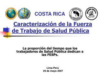 Caracterización de la Fuerza de Trabajo de Salud Pública