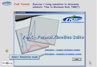 ForK Tutorial. Exercise 1  Using simulation to determine 	adiabatic Time to Maximum Rate TMR(T)