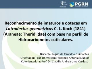 Discente: Ingrid de Carvalho Guimarães Orientador: Prof. Dr. William Fernando  Antonialli  Junior