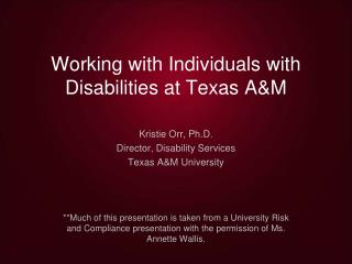 Working with Individuals with Disabilities at Texas A&M