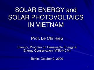 SOLAR ENERGY and SOLAR PHOTOVOLTAICS IN VIETNAM