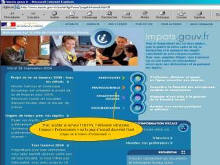 Pour  accéder au serveur TéléTVA, l'utilisateur sélectionne