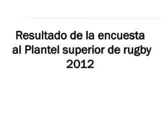 Resultado de  la encuesta  al Plantel superior de  rugby  2012