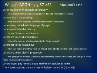 Wasps : AGON – pg 57->61        Philocleon's case