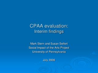 CPAA evaluation: Interim findings