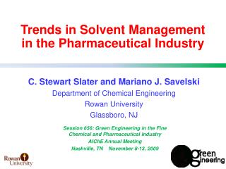 Trends in Solvent Management  in the Pharmaceutical Industry