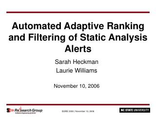 Automated Adaptive Ranking  and Filtering of Static Analysis Alerts