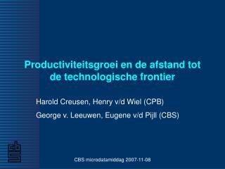 Productiviteitsgroei en de afstand tot de technologische frontier