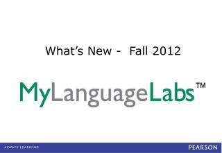 What's New -  Fall 2012
