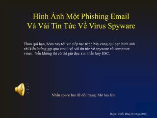 Hình Ảnh Một Phishing Email  Và Vài Tin Tức Về Virus Spyware
