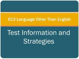 613 Language Other Than English
