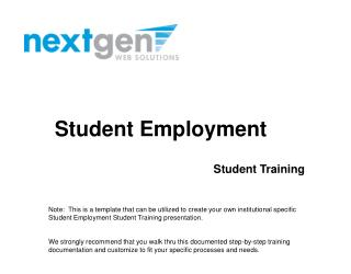 Student Employment  Student Training