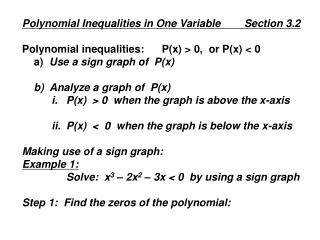 Polynomial Inequalities in One Variable        Section 3.2