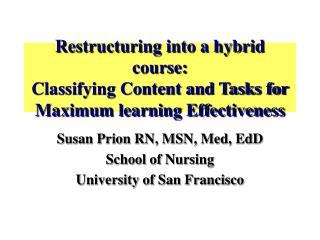 Susan Prion RN, MSN, Med, EdD School of Nursing University of San Francisco
