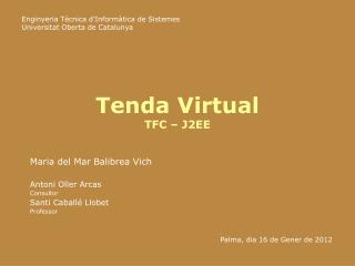 Tenda Virtual TFC – J2EE