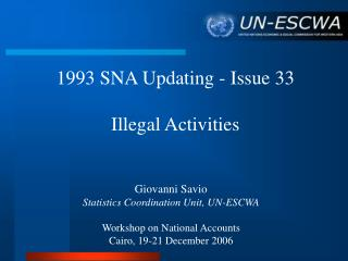 1993 SNA Updating - Issue 33 Illegal Activities