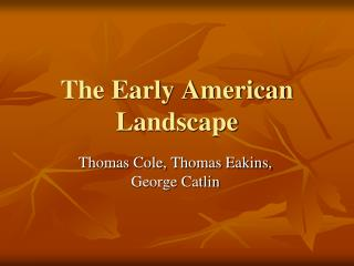 The Early American Landscape