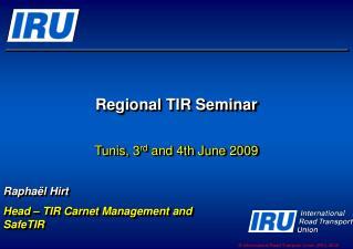 Regional TIR Seminar