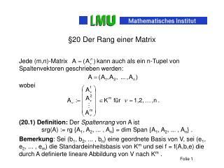 §20 Der Rang einer Matrix