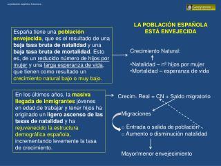 La población española. Estructura