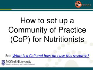How to set up a Community of Practice ( CoP ) for Nutritionists
