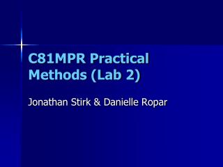 C81MPR Practical Methods (Lab 2)